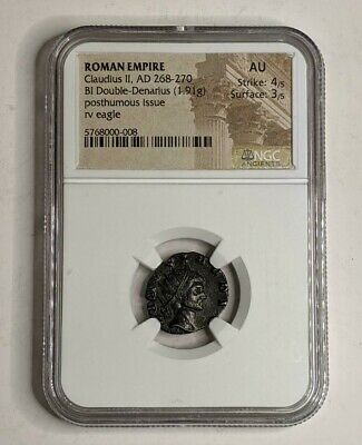 Ancient Roman Empire Coin Claudius II DOUBLE DENARIUS AD 268-270 NGC Graded AU