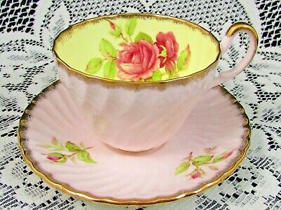 Foley Pink Rose Swirled Tea Cup And Saucer Yellow Interior