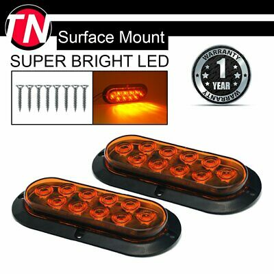 "2x 6"" Oval Amber 10 LED TMH Surface Mount Turn Signal Side Marker Light Truck RV"