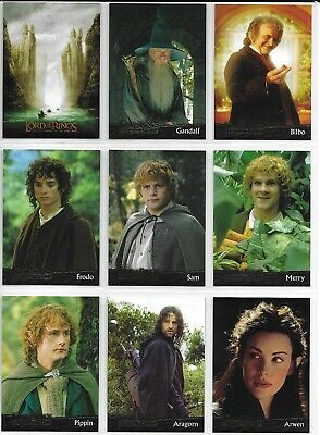Topps LORD OF THE RINGS FELLOWSHIP 90 Card BASE Set + P2,P3 + 3 Wrappers 2001