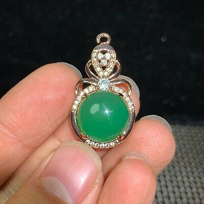 Collectible Chinese S925 Silver & Green Agate Handwork Noble Round Bead Pendant