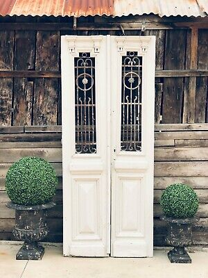 Pair of French Antique Timber Doors with Wrought Iron Insert Detail