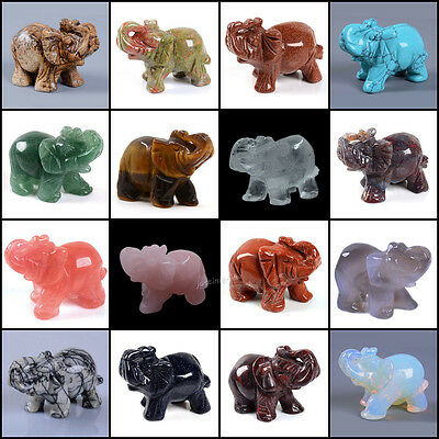50mm Hand carved gemstone elephant statue figurine collectible decor 2""