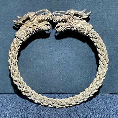 Collectible Old Tibet Silver Handwork Double Dragon Chinese Vintage Bracelet