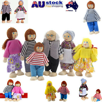 Wooden Furniture Dolls House Family Miniature 6/7 People Set Doll Toy For Kid AU