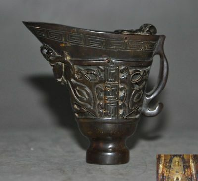 Antiques China Old Ox Horn Carved Dragon Beast Statue Wine vessel wineglass cup