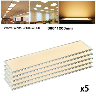 5X 48W LED Panel Lights 1200 x 300 Ceiling Suspended Recessed Slim Office Warm