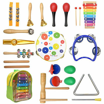 20PCs Wooden Kids Baby Musical Instruments Set Toys Children Toddlers Percussion