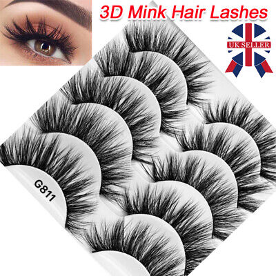 5 Pair 3D Mink False Eyelashes Wispy Cross Long Thick Soft Fake Eye Lashes T