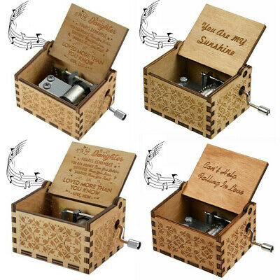 You Are My Sunshine-Wooden Engraved Music Box Gift for Mom/Dad To Daughter/Son H