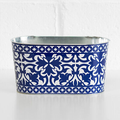 2L Oval Blue & White Plant Pot Cover Planter Indoor Outdoor Garden Herb Trough