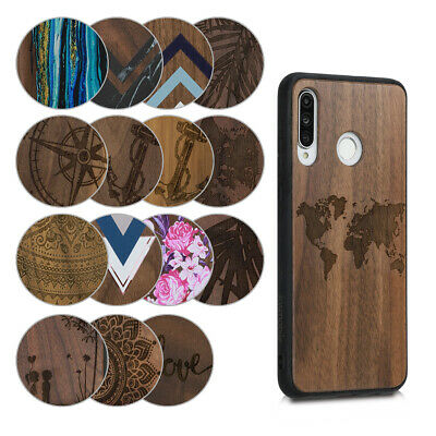 Protective case for Huawei P30 Lite Design Wooden case TPU Bumper case cover