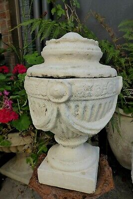 Vintage Concrete Lidded Garden Urn Post Topper Ornate Neoclassical Corinthian