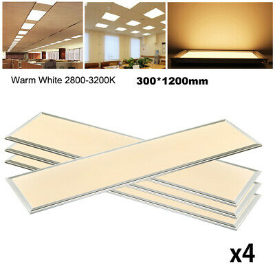 4X 48W LED Panel Lights 1200 x 300 Ceiling Suspended Recessed Slim Office Warm