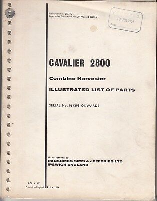 Ransomes Sims & Jefferies Cavalier 2800 Combine Illustrated parts list 1969