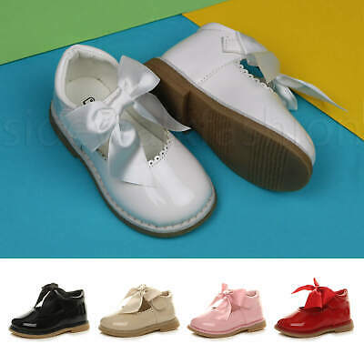 Girls kids toddlers Mary Jane ribbon bow christening bridesmaid party shoes size