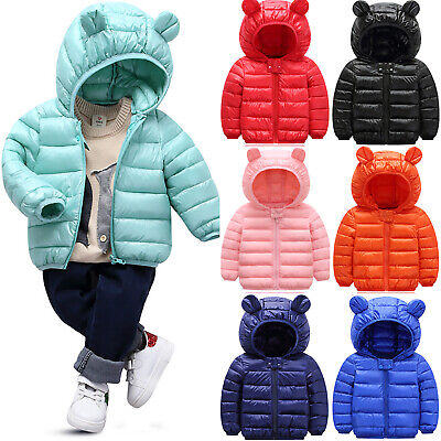 Kids Boys Girl Baby Ear Hooded Jacket Quilted Puffer Coats Winter Warm Outerwear