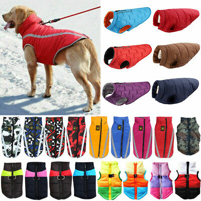 Waterproof Pet Dog Clothes Winter Coat Padded Vest Jacket Reflective Apparel UK