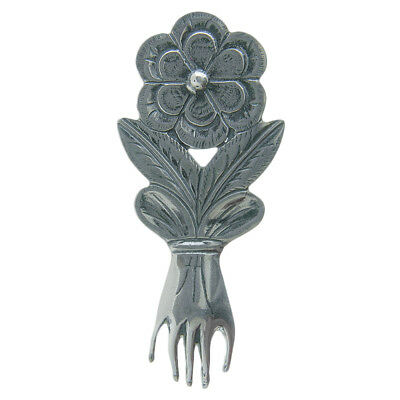 Solid sterling silver HAND WITH FLOWER MILAGRO charm (M-140)