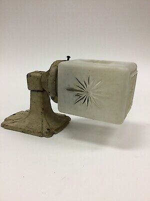 Antique Cast Iron Wall Sconce Industrial Gothic Art Deco Starburst Old Paint