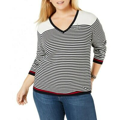 TOMMY HILFIGER NEW Women's Plus Size Striped Anchor V-Neck Sweater Top TEDO