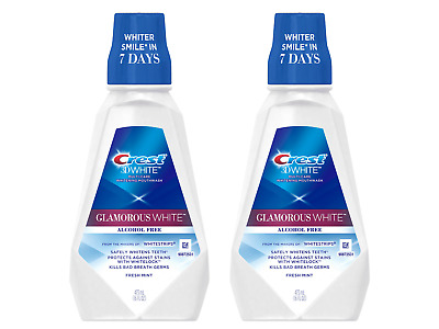 (2) Bottles Crest 3D White Multi-Care Whitening Rinse, Glamorous White, Fresh Mi