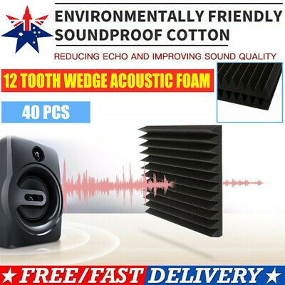 40PCS Heavy Duty Studio Acoustic Foam Sound Absorbtion Proofing Panel Stop Wedge