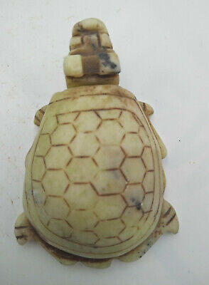 Exquisite Chinese old carved jade dragon turtle Q063
