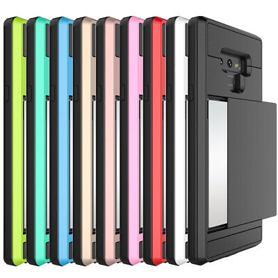 For Samsung Galaxy NOTE 9 8 Case Card Slot Holder Hybrid Wallet Shockproof Cover