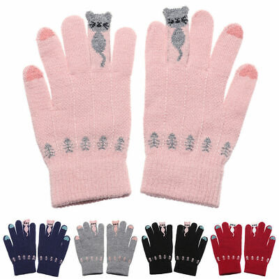 Full Finger Women Cute Cat Print Wool Knitted Gloves Warm Touch Screen Mittens