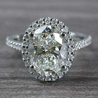 2.50Ct Oval-Cut Diamond Lovely Halo Engagement Ring 14K White Gold Finish
