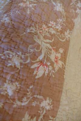 Antique hand stitched cotton Durham quilt - pink roses & raspberry pink
