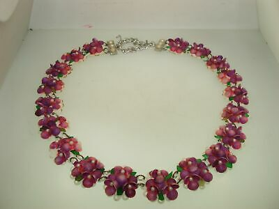 Antique Art Nouveau Lucite Sea Shell Flower Necklace! Amazing Survivor...
