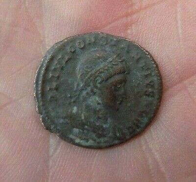 Roman Coin CONSTANTIUS II AE Follis Antioch Gloria Exercitus Soldiers Standards