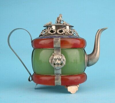 China Tibetan Silver Jade Hand-Carved Dragon Lion Teapot High-End Old Gift