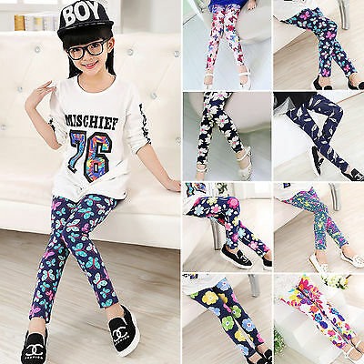 Kids Baby Girls Floral Stretchy Leggings Slim Full Length Casual Trousers Pants
