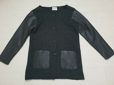 Zara Girls Knitwear Black Knit With Faux Leather Sleeve Cardigan Size Age 11-12