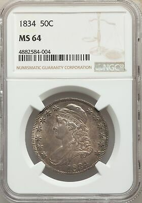 1834 US Silver 50C Capped Bust Half Dollar - Lrg Dt and Ltrs - NGC MS64