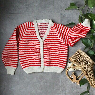 VTG 6-7 90s Red Candy Striped Cardi Oversized Boxy Handknit Sweater Kid Pullover