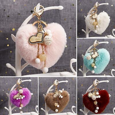 Cute Plush Love Heart Pendant Key Chain Clasp Key Ring Keyring Handbag Decor