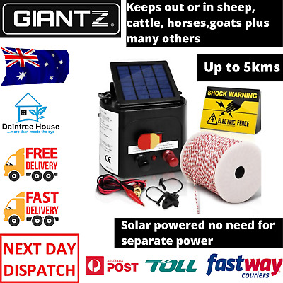 Giantz 5km Solar Electric Fence Energiser Charger 500M Tape and 25pcs Insulators
