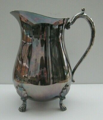 Vintage Leonard Silver Plate~Water Pitcher With Ice Lip~Footed~8.5""