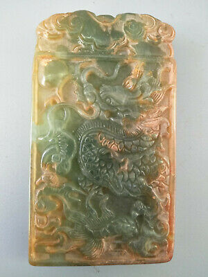 Chinese Exquisite Hand-carved old jade dragon pendants G11