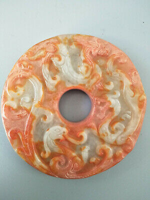 Chinese Exquisite Hand-carved old jade dragon BI G8
