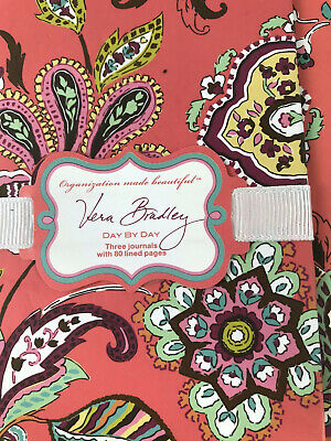 Vera Bradley Coral Green Pink Day-by-Day Journals Diary Set 3 with lined page