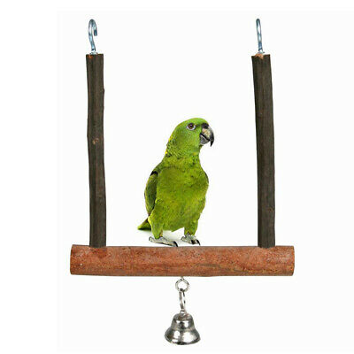 Parrot Birds Wooden Perch Play Toy Stand Holder Swing Bell Cage Hanging Reliable