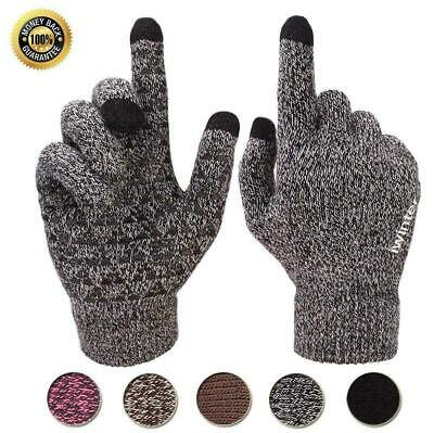Winter Warm Touchscreen Gloves for Women Men Knit Wool Lined Texting