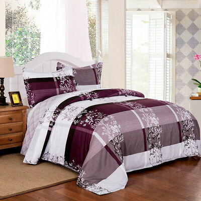 Checked Floral Quilt/Duvet/Doona Cover Set Double/King Size Bed Linen Pillowcase