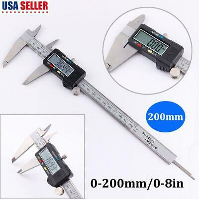 200mm Stainless Steel Electronic Digital Vernier Caliper 0-8in LCD Diplay