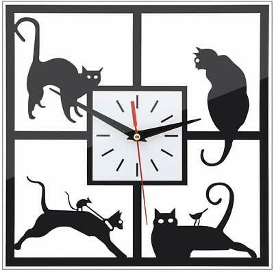 URAQT Adorable Cats in the Window Wall Clock, small hammer to complete
